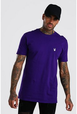 Purple Hand Chest Embroidered T-Shirt