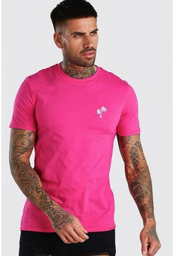 Pink Palm Tree Chest Embroidered T-Shirt
