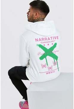 White Butterfly Graffiti Back Print Hoodie