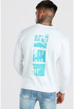 White New York Photo Back Print Sweat