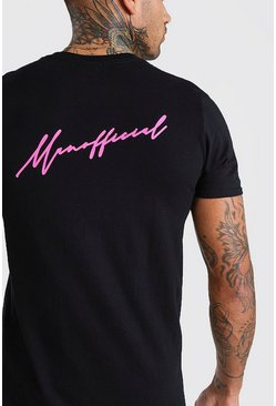 Neon-pink MAN Official Front & Back Print T-Shirt