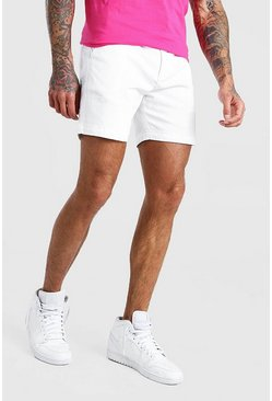 Short chino slim fit, Bianco