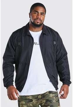 Big And Tall Utility Shell Harrington-Jacke, Schwarz