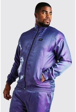 Purple Big And Tall MAN Iridescent Shell Jacket