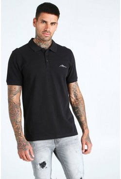 Black MAN Signature Short Sleeve Pique Polo