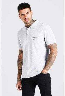 Grey MAN Signature Short Sleeve Pique Polo