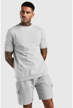 Grey Short Sleeve Pique Sweatshirt