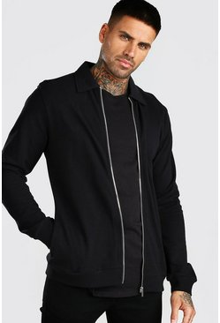 Black Pique Harrington Jacket