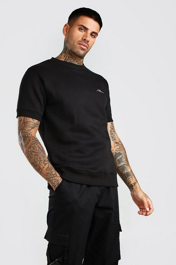 Black MAN Signature Embroidered Short Sleeve Sweatshirt