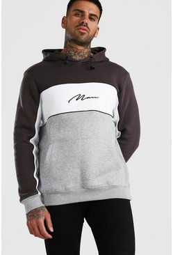 Sweat à capuche color-block MAN Signature, Gris