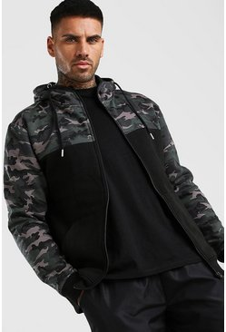 Sweat à capuche zippé camouflage colorblock, Noir