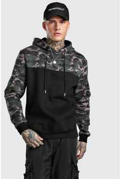 Sweat à capuche à enfiler camouflage colorblock, Noir