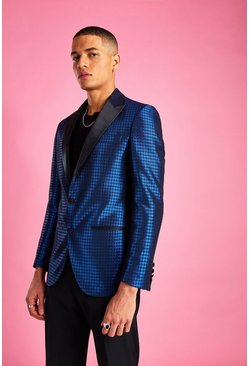Cobalt Skinny Dogtooth Check Prom Jacket