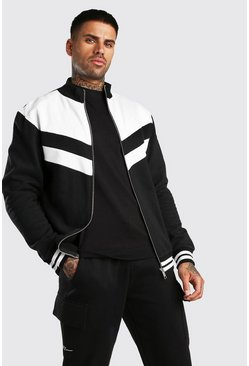 Black Colour Block Zip Funnel Sweat With Sport Rib