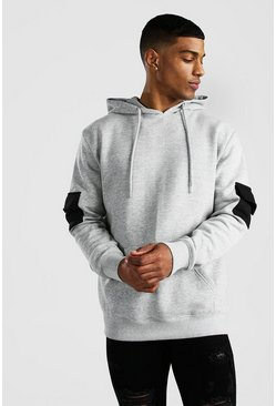 Sweat à capuche fonctionnel colorblock, Gris
