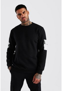 Black Colour Block Utility Sweatshirt