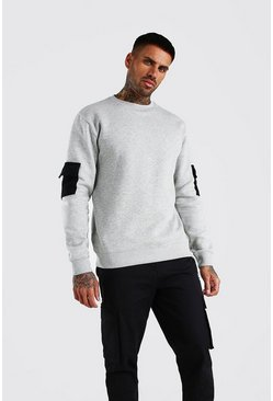 Sweatshirt fonctionnel colorblock, Gris