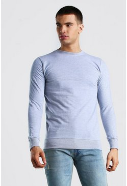 Grey Crew Neck Sweatshirt In Loopback