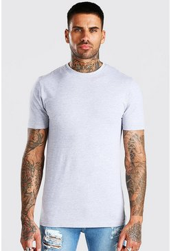 Muscle-Fit Rundhals T-Shirt, Grau