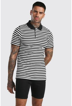 Black MAN Signature Horizontal Yarn Dyed Stripe Polo