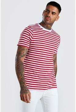 Red Horizontal Yarn Dyed Stripe T-Shirt