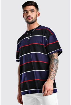 Navy Oversized Horizontal Yarn Dyed Stripe T-Shirt