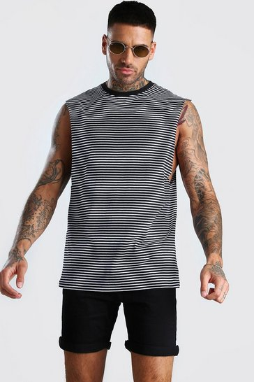 Black Drop Armhole Horizontal Yarn Dyed Stripe Tank