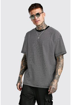 Black Oversized Horizontal Yarn Dyed Stripe T-Shirt
