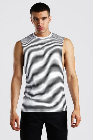 White Drop Armhole Horizontal Yarn Dyed Stripe Tank