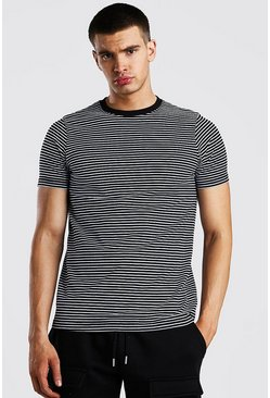 Black Horizontal Yarn Dyed Stripe T-Shirt