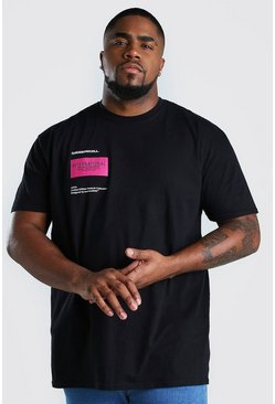 Camiseta con estampado International Big And Tall, Negro