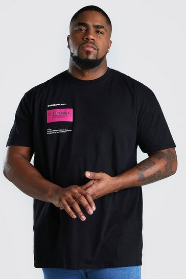 Black Big And Tall MAN International Printed T-Shirt
