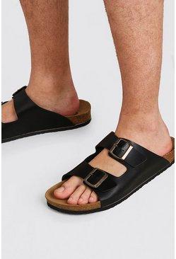 Black Faux Leather Double Buckle Sandal