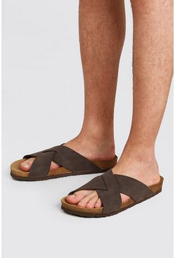Brown Faux Nubuck Cross Over Sandal