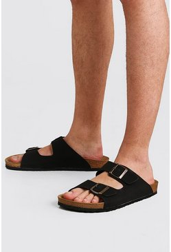 Black Faux Nubuck Double Buckle Sandal