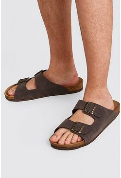 Brown Faux Nubuck Double Buckle Sandal