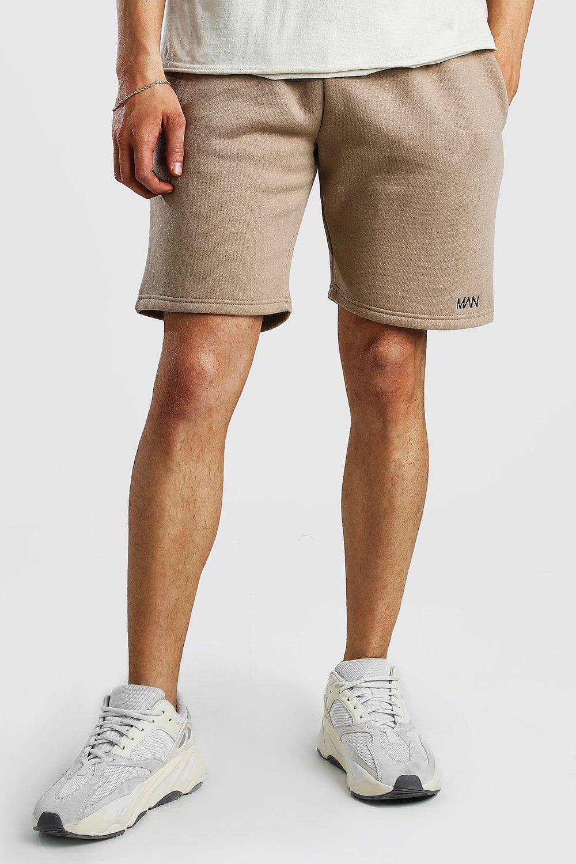 mens original man print mid length jersey shorts - beige
