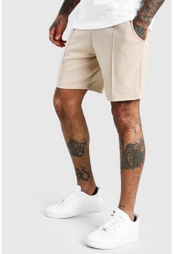 Taupe MAN Signature Scuba Pintuck Shorts