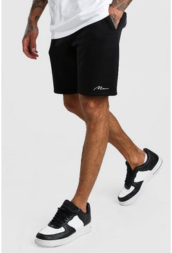 Black MAN Signature Mid Length Jersey Shorts