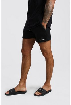 Black MAN Signature Short Length Jersey Shorts