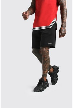 Black MAN Signature Basketball Jersey Short