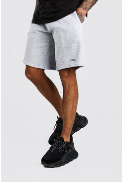 Short en jersey de basketball signature MAN, Gris chiné
