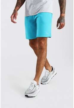 Blue MAN Signature Mid Length Jersey Shorts