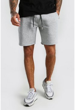 Grey Mid Length Jersey Shorts With MAN Draw Cords