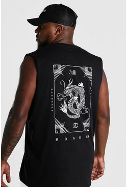 Black Big And Tall Dragon Back Print Tank