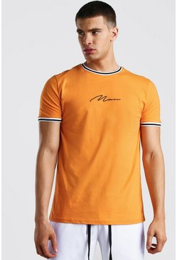 Orange MAN Signature T-Shirt With Sports Rib Neck & Cuff