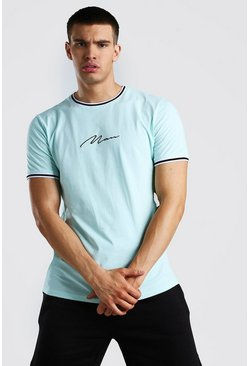 Blue MAN Signature T-Shirt With Sports Rib Neck Cuff