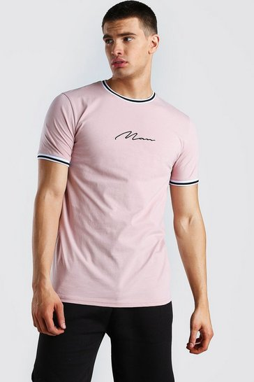 Mauve MAN Signature T-Shirt With Sports Rib Neck & Cuff