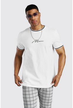 Ecru MAN Signature T-Shirt With Sports Rib Neck & Cuff