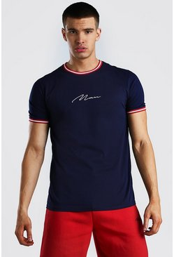 Navy MAN Signature T-Shirt With Red Sports Rib Neck